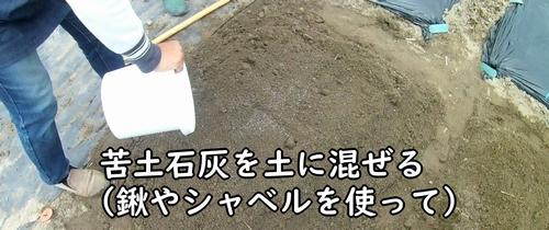 苦土石灰を畝に混ぜる