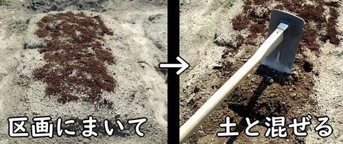 肥料と土を混ぜる