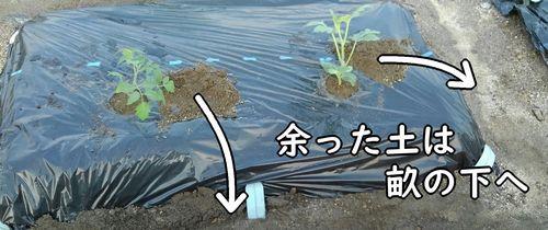 余った土は畝下へ落とす