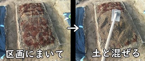 肥料を土に混ぜ込む