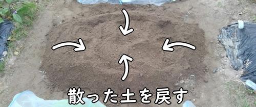 散った土を畝に戻す